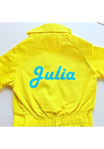 Printed yellow overalls with text or name