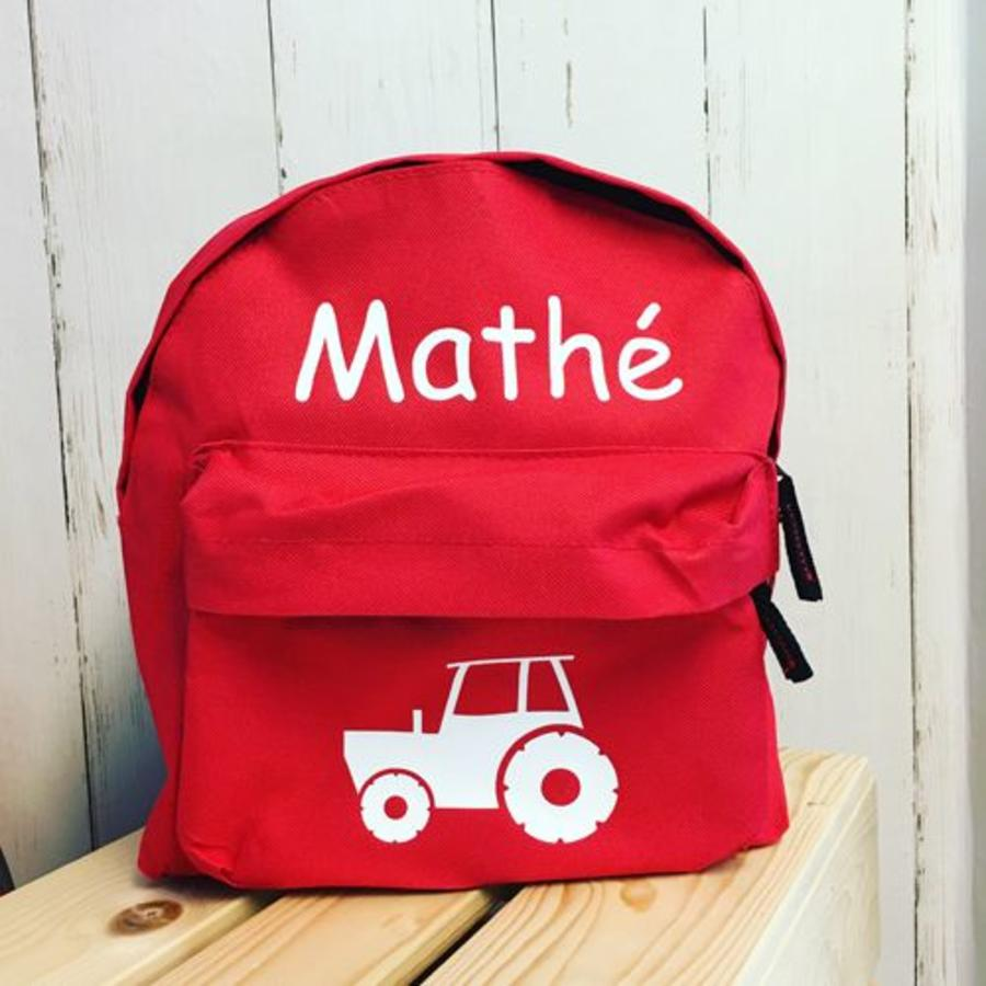 Backpack with name print and tractor, farm theme-1