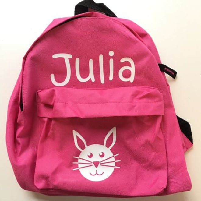 Backpack with name and rabbit print