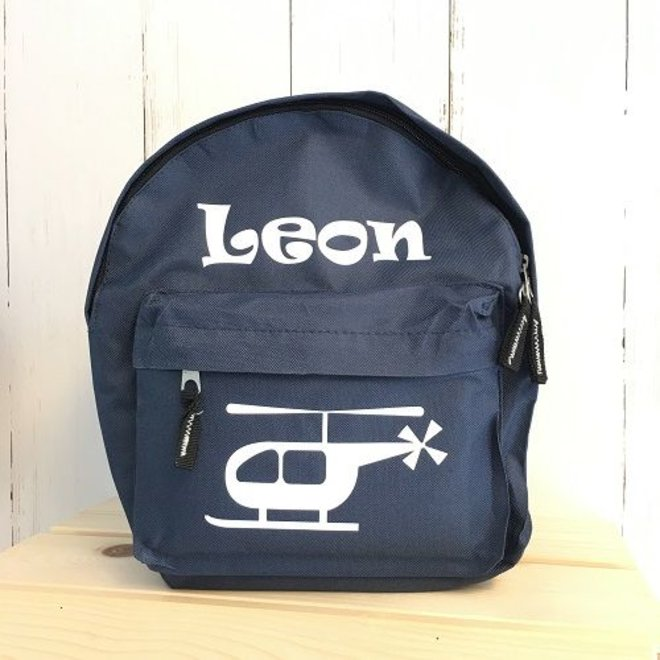 Backpack with name and helicopter