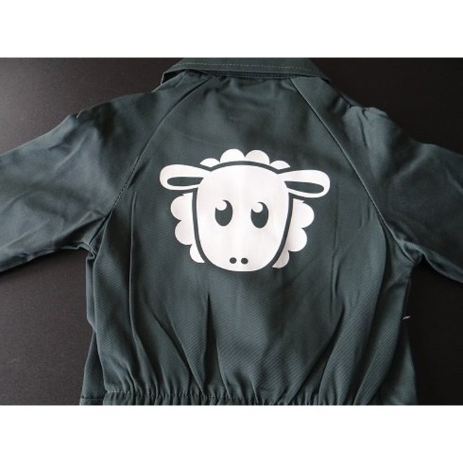 Coverall with a sheep printed on the back