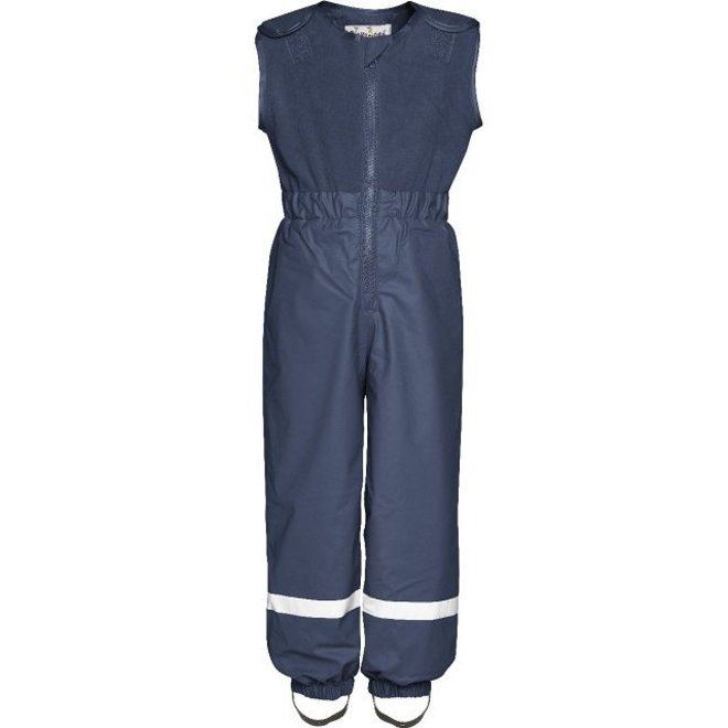 Lined navy blue rain and ski pants with fleece top