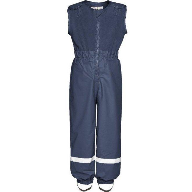 Fleece lined ski and rain pants with fleece top- navy
