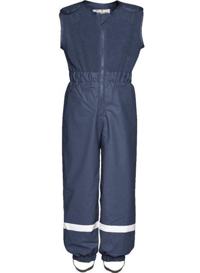 Gevoerde navy blauwe  regen- en skibroek met fleece top