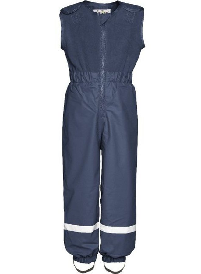 Padded navy blue rain and ski pants with fleece top