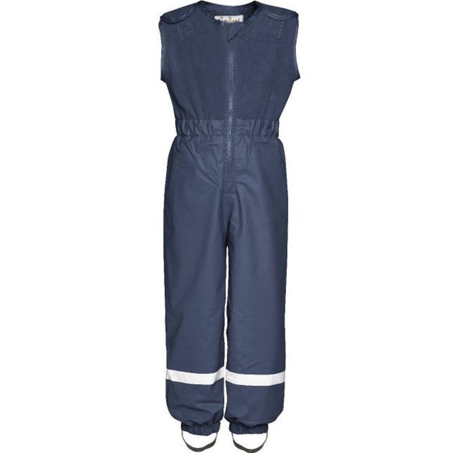 Fleece-lined ski and rain trousers with fleece top-navy-1
