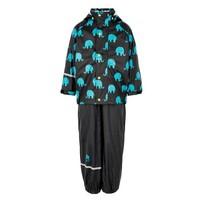 thumb-Waterproof rainsuit: raincoat and rainpants in black with elephant print-1