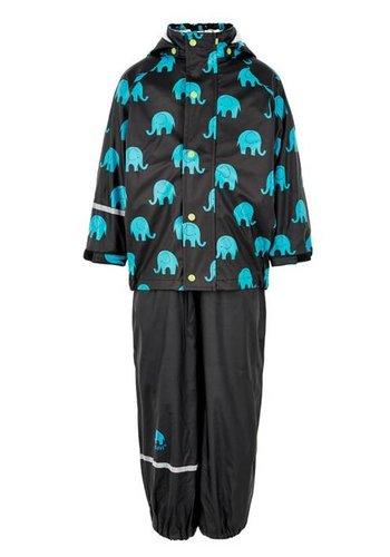 CeLaVi Waterproof rainsuit with hood in black with elephants