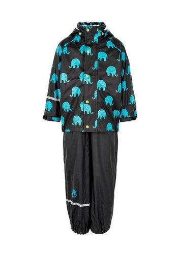 CeLaVi Regenbroek en regenjas met olifanten print in zwart - turquoise| 110-140