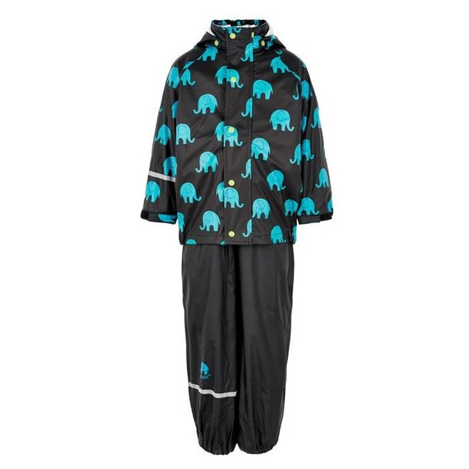 Waterproof rainsuit: raincoat and rainpants in black with elephant print