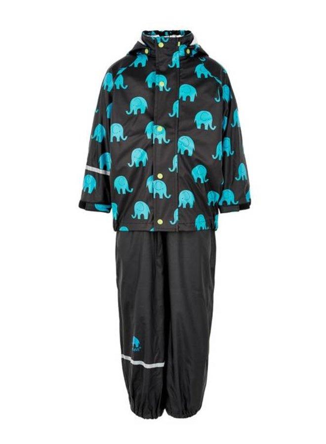 Waterproof rainsuit with hood in black with elephants