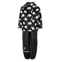 thumb-Regenbroek en regenjas met olifanten print in zwart/geel | 110-140-1