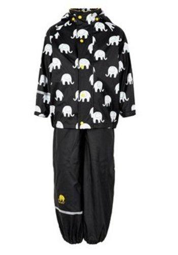 CeLaVi Waterproof rainsuit with hood in black/yellow with elephants