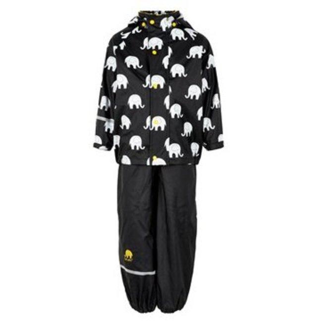 Waterproof rainsuit: raincoat and rainpants in black/yellow with elephant print
