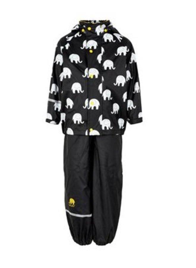 Regenbroek en regenjas met olifanten print in zwart/geel | 110-140