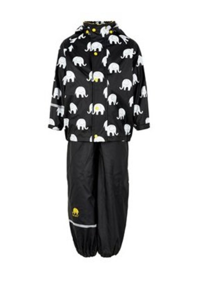 Regenbroek en regenjas met olifanten print in zwart /geel| 110-140