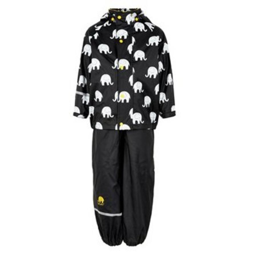 Regenbroek en regenjas met olifanten print in zwart/geel | 110-140-1