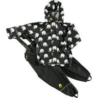 thumb-Regenbroek en regenjas met olifanten print in zwart/geel | 110-140-2