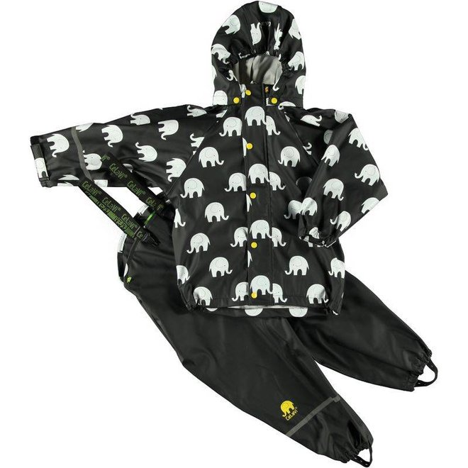 Waterproof rainsuit with hood in black/yellow with elephants