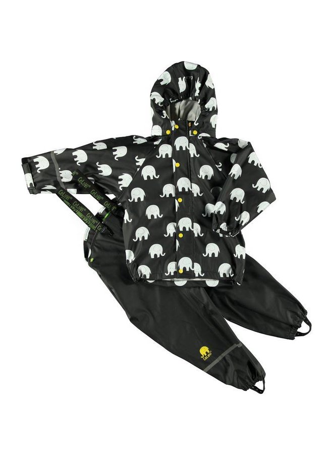 Regenbroek en regenjas met olifanten print in zwart/geel   110-140