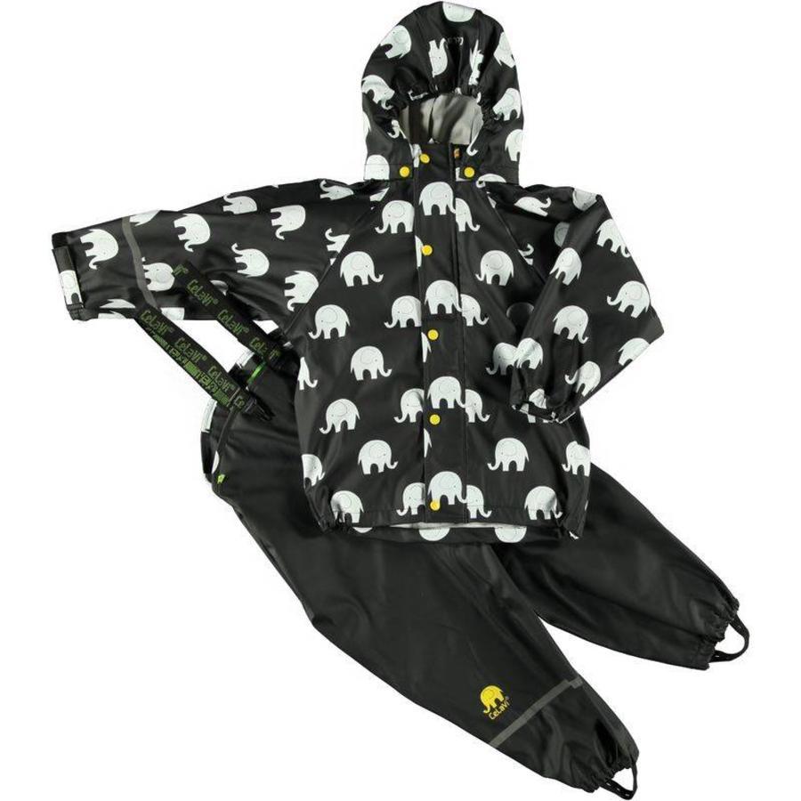 Regenbroek en regenjas met olifanten print in zwart/geel | 110-140-2
