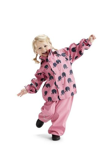 CeLaVi Waterproof rainsuit with hood in  pink with black elephants