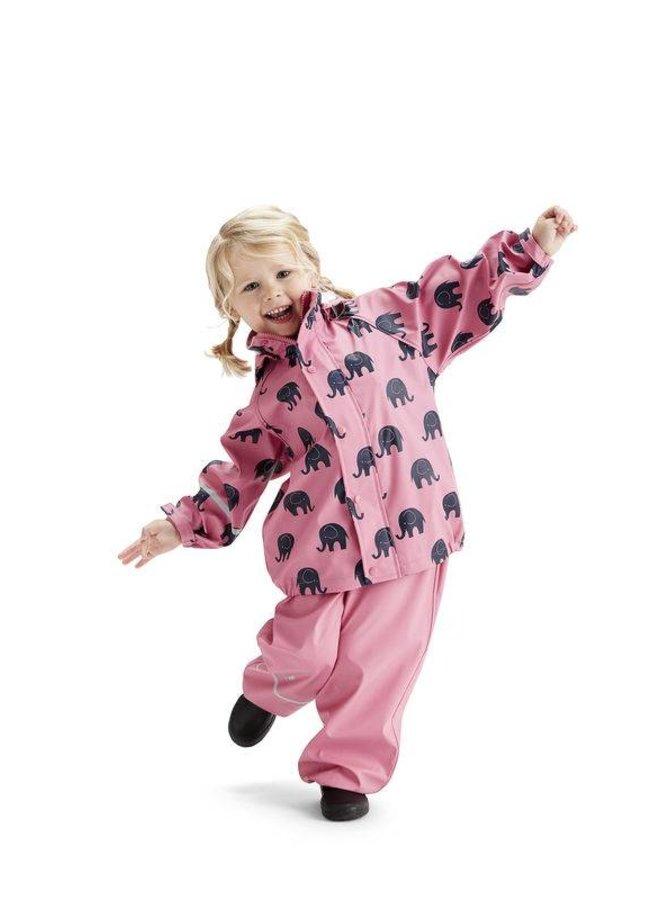 Waterproof rainsuit: raincoat and rainpants in pink with black elephants