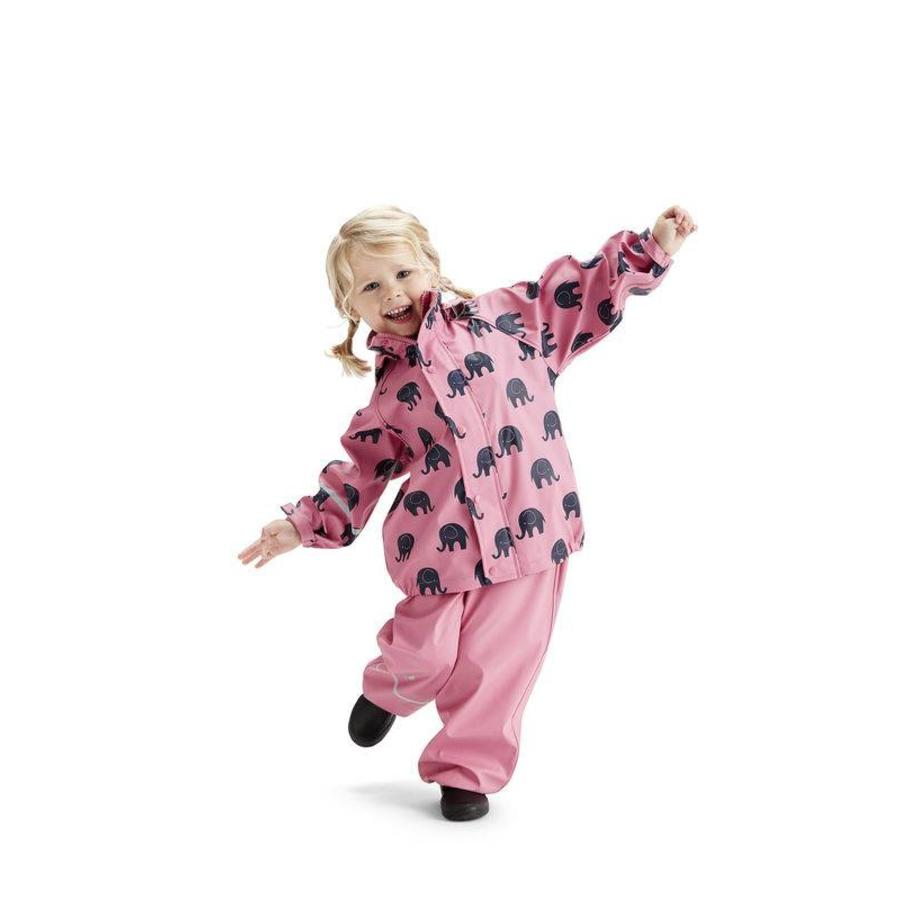 Waterproof rainsuit: raincoat and rainpants in pink with black elephants-1