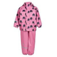 thumb-Regenbroek en regenjas met olifanten print in roze | 110-140-2
