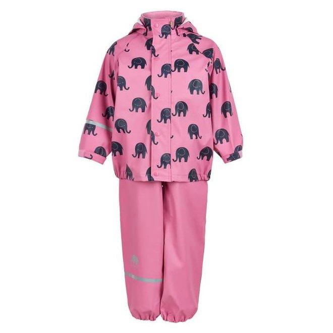 Regenbroek en regenjas met olifanten print in roze   110-140