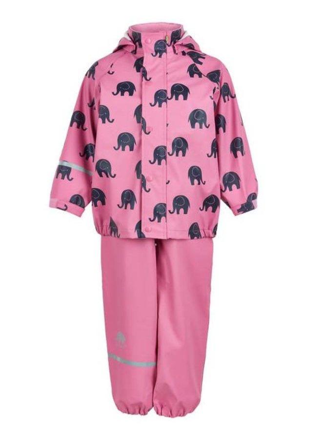 Regenbroek en regenjas met olifanten print in roze | 110-140