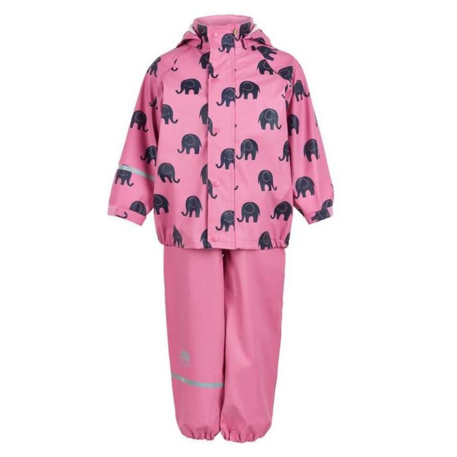 Waterproof rainsuit: raincoat and rainpants in pink with black elephants-2