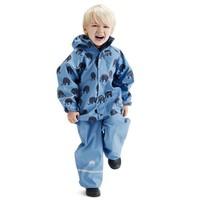 thumb-Waterproof rainsuit: raincoat and rainpants in blue with black elephants-1