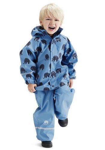 CeLaVi Waterproof rainsuit with hood in blue with black elephants