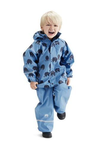 CeLaVi Waterproof rainsuit with hood in blue with black elephants