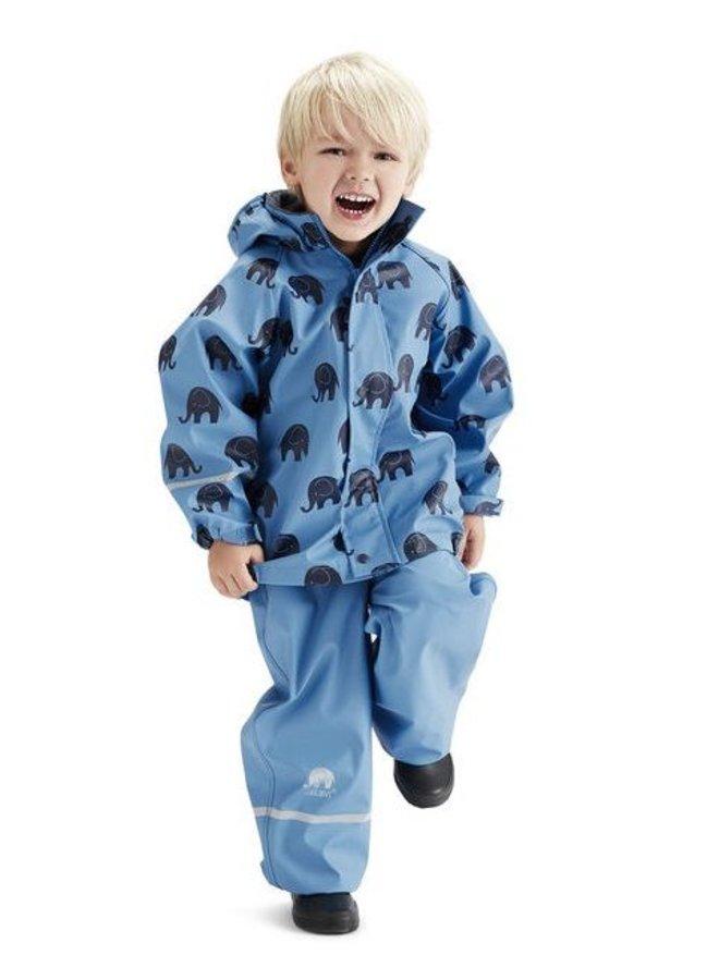 Waterproof rainsuit with hood in blue with black elephants