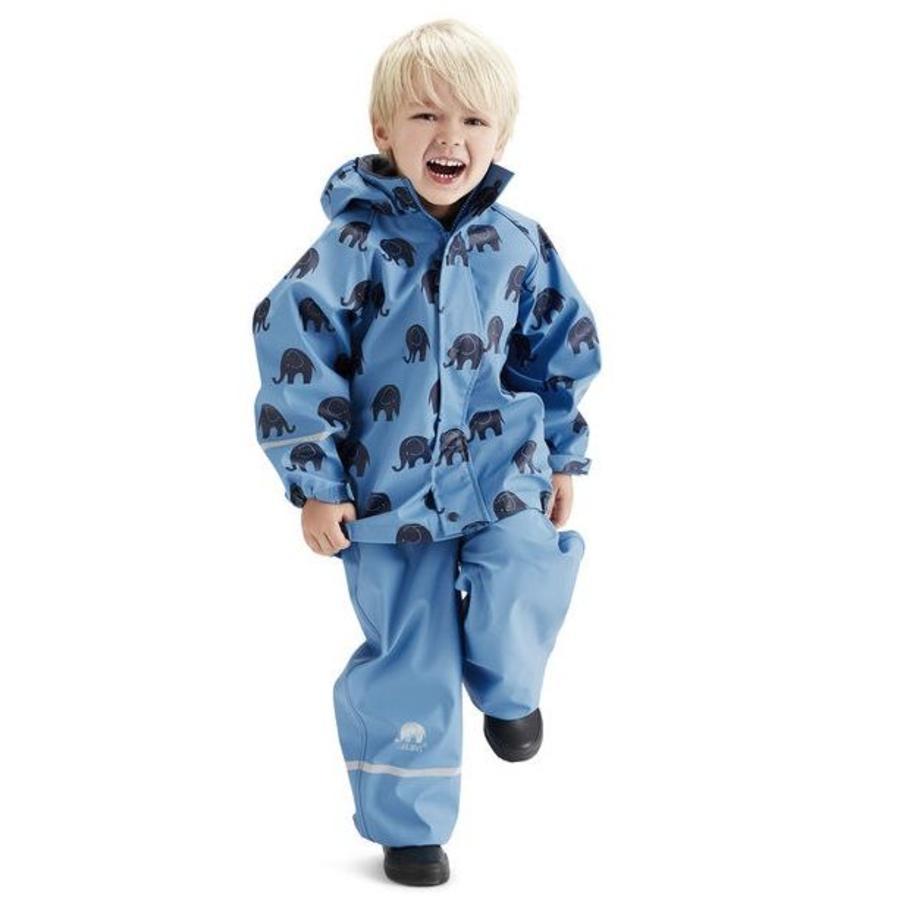 Waterproof rainsuit: raincoat and rainpants in blue with black elephants-1