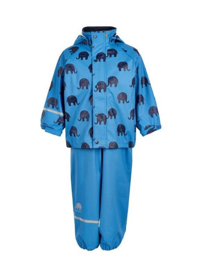 Regenbroek en regenjas met olifanten print   blauw  110-140
