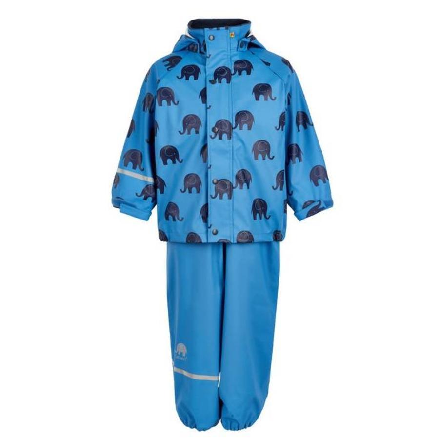 Waterproof rainsuit: raincoat and rainpants in blue with black elephants-2