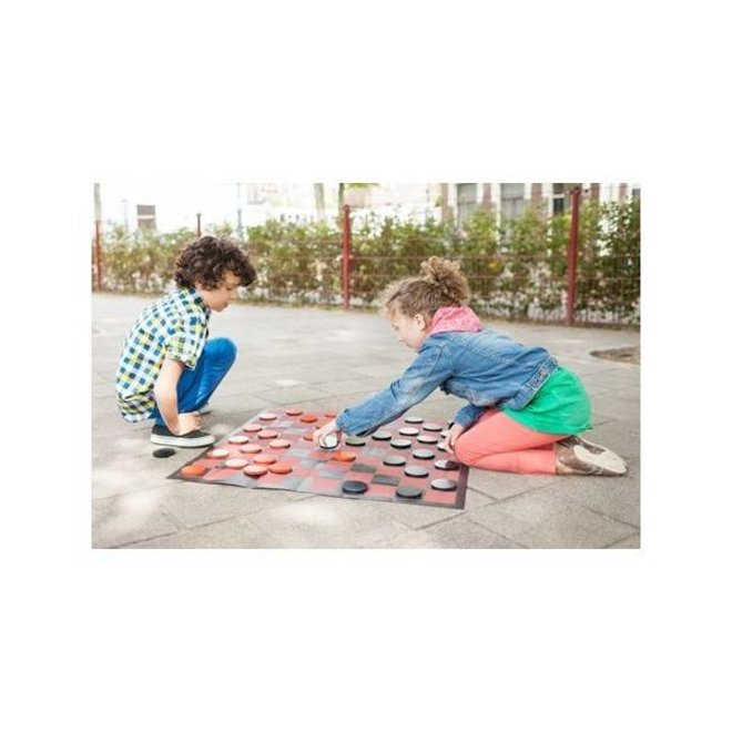 Checkers game set for indoors and outdoors