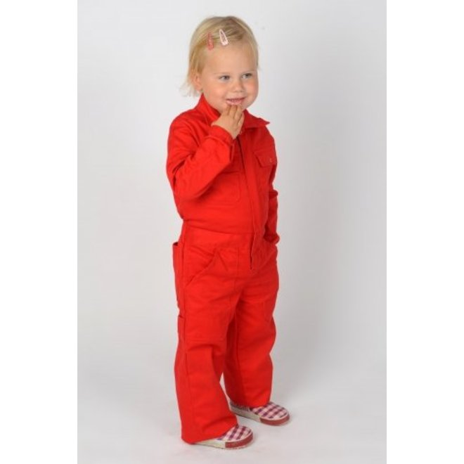 Red overalls with name or text printing