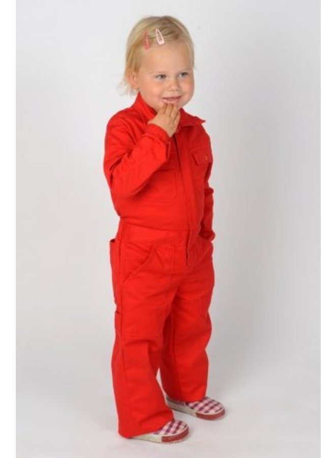 Red coverall with name or text print