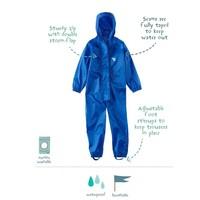 thumb-Waterproof coveralls, rain boiler suit - blue-1