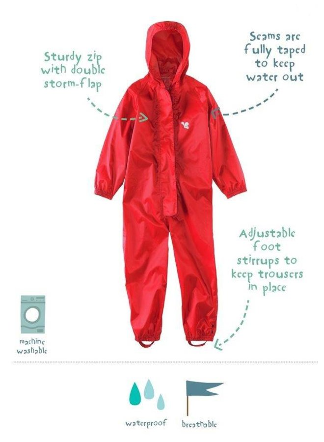 Waterproof overall, rain overall - red KDV & BSO