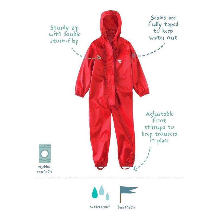 Waterproof coveralls, rain boiler suit - red-1