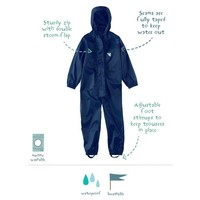 thumb-Waterproof coveralls, rain boiler suit - navy blue-1