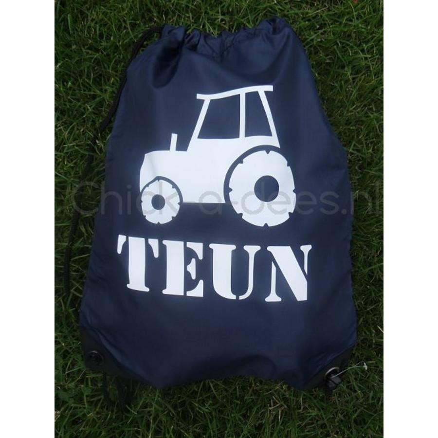 Gym bag, backpack with drawstring with name and tractor-2