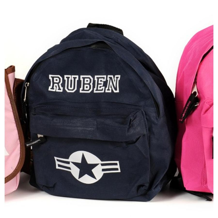 Backpack with name print and stars & stripes-3