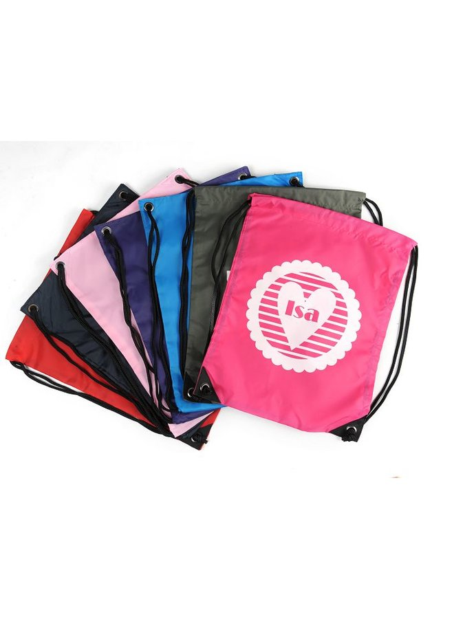 Gym bag with name and a striped heart