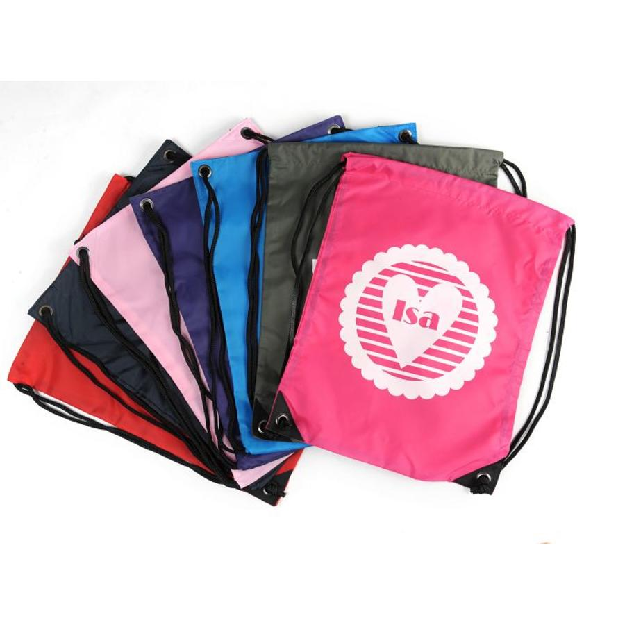 Gym bag with name and a striped heart-1